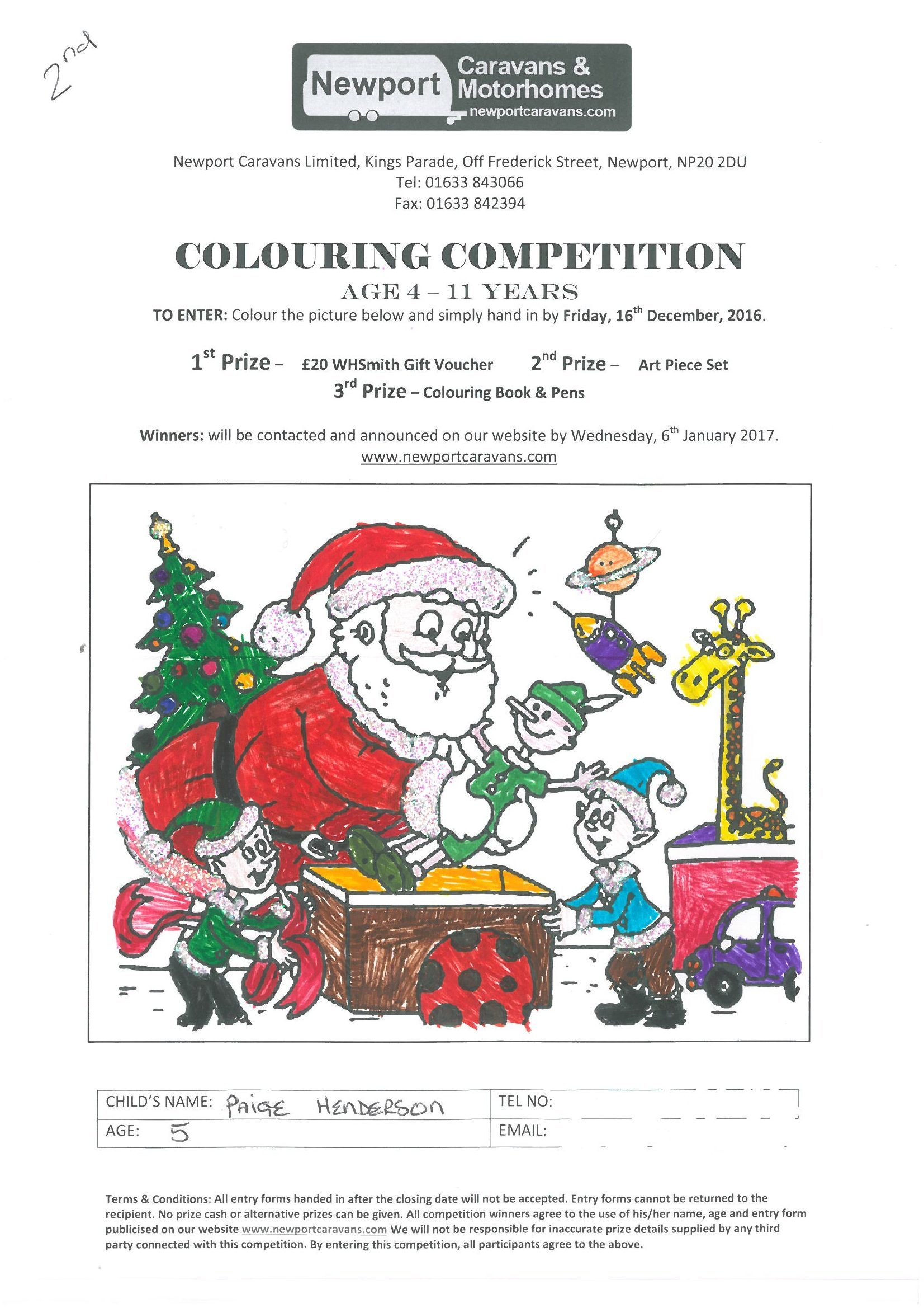 christmas 2016 colouring competition - results